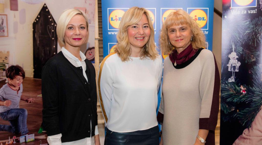 Anđelka Budić, voditeljica udruge Praktikum, Marina Dijaković, voditeljica Sektora korporativnih komunikacija Lidla Hrvatska i Vesna Ledić, voditeljica projekata MUO